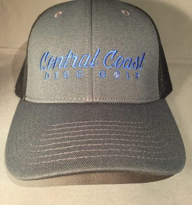 grey with blue lettering